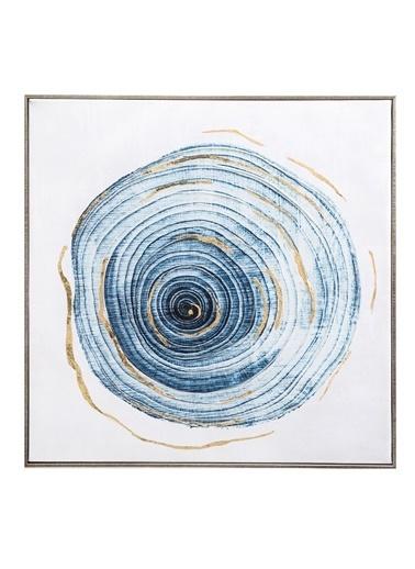 Warm Design Tuval Ağaç Motifli Duvar Panosu Mavi